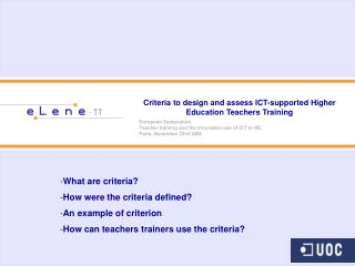 Criteria to design and assess ICT-supported Higher Education Teachers Training