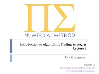 Introduction to Algorithmic Trading Strategies Lecture 8