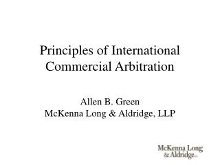 Principles of International Commercial Arbitration