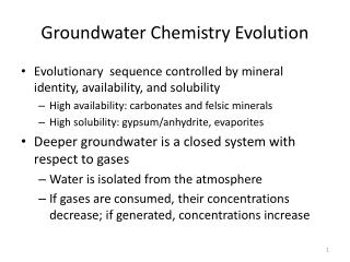 Groundwater Chemistry Evolution