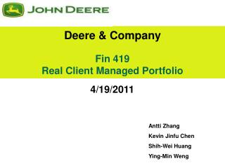 Fin 419 Real Client Managed Portfolio