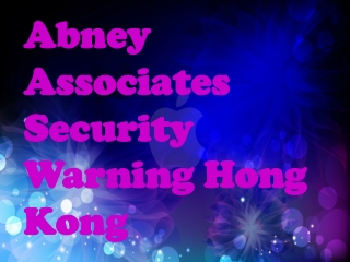 Abney Associates Security Warning Hong Kong: Intego van nieu