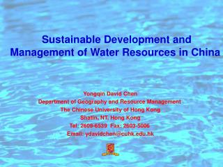 Sustainable Development and Management of Water Resources in China