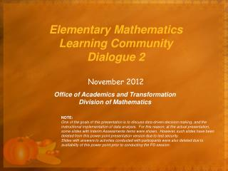Elementary Mathematics Learning Community Dialogue 2