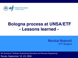 Bologna process at UNSA/ETF - Lessons learned  -