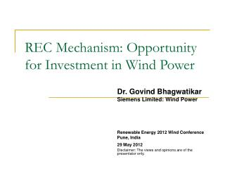 REC Mechanism: Opportunity for Investment in Wind Power