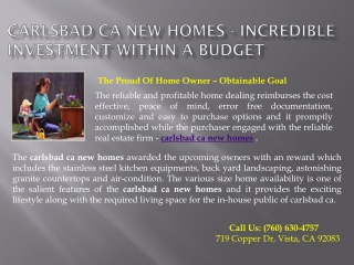 Carlsbad Ca New Homes - Incredible Investment Within A Budget