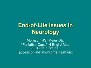 End-of-Life Issues in Neurology