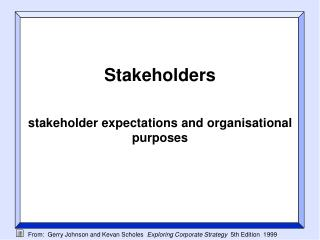 Stakeholders stakeholder expectations and organisational purposes