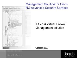 Management Solution for Cisco NG Advanced Security Services