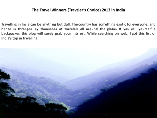 The Travel Winners (Traveler s Choice) 2013 in India