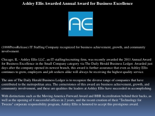 Ashley Ellis Awarded Annual Award for Business Excellence