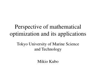 Perspective of mathematical optimization and its applications