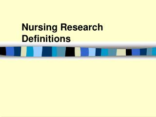 Nursing Research Definitions