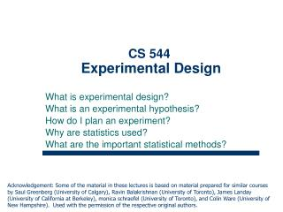 CS 544 Experimental Design