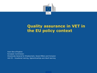 Quality assurance in VET in the EU policy context