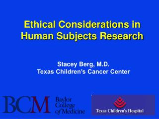 Ethical Considerations in Human Subjects Research
