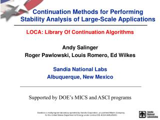 Continuation Methods for Performing Stability Analysis of Large-Scale Applications