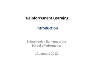 Reinforcement Learning  Introduction
