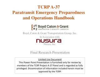 TCRP A-37 Paratransit Emergency Preparedness  and Operations Handbook