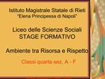 Istituto Magistrale Statale di Rieti  Elena Principessa di Napoli   Liceo delle Scienze Sociali STAGE FORMATIVO  Ambient