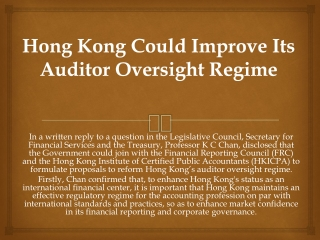 Hong Kong Could Improve Its Auditor Oversight Regime