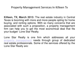 Property Management Services In Killeen Tx