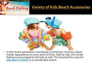 Variety of kids beach accessories