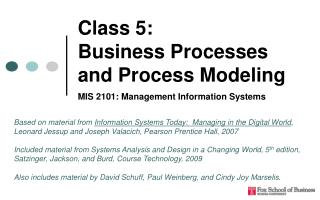 Class 5:  Business Processes and Process Modeling