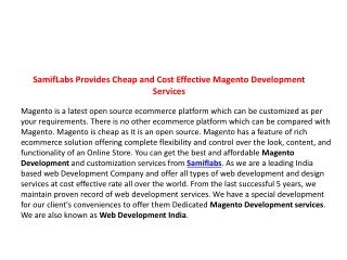 SamifLabs Provide Cheap & Cost Effective Magento Development