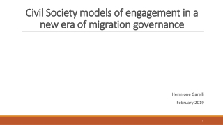Civil Society models of engagement in a new era of migration governance