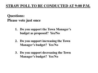 STRAW POLL TO BE CONDUCTED AT 9:00 P.M.