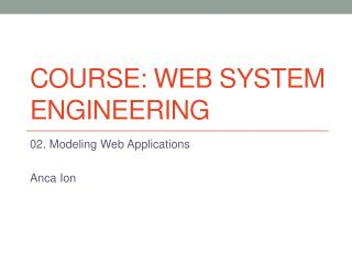 Course:  Web  System E ngineering