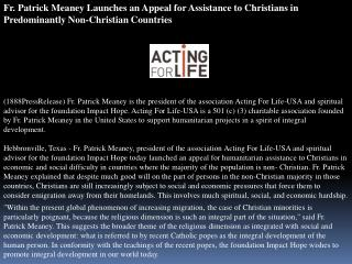 Fr. Patrick Meaney Launches an Appeal for Assistance to Chri