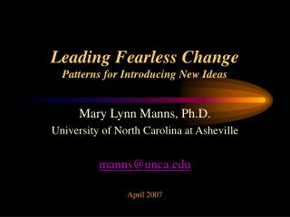 Leading Fearless Change Patterns for Introducing New Ideas