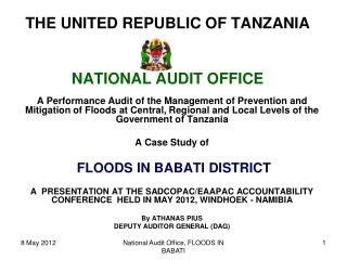 THE UNITED REPUBLIC OF TANZANIA   NATIONAL AUDIT OFFICE