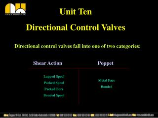 Unit Ten Directional Control Valves