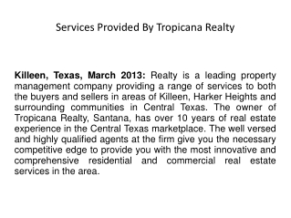 Services Provided By Tropicana Realty
