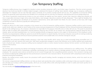 Can Temporary Staffing