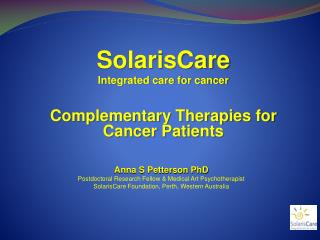 SolarisCare  Integrated care for cancer  Complementary Therapies for Cancer Patients