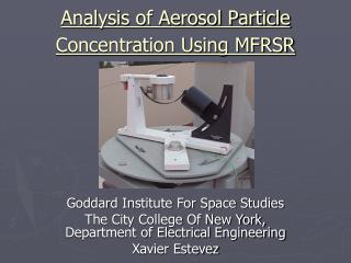 Analysis of Aerosol Particle Concentration Using MFRSR