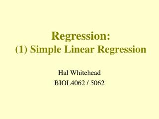 Regression: (1) Simple Linear Regression