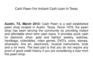Cash Pawn For Instant Cash Loan In Texas