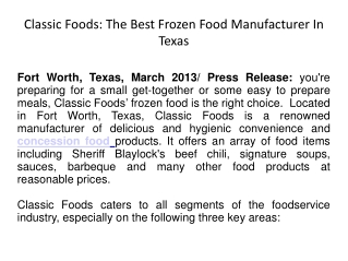 Classic Foods: The Best Frozen Food Manufacturer In Texas
