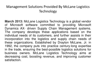Management Solutions Provided By McLane Logistics Technology