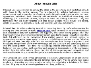 About Inbound Sales