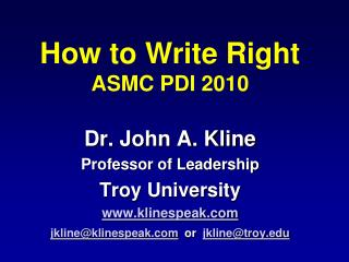 How to Write Right ASMC PDI 2010