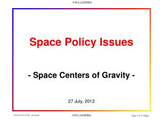 Space Policy Issues