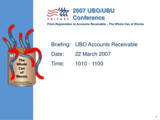 Briefing: 	UBO Accounts Receivable	 Date: 	22 March 2007	 Time: 	1010 - 1100