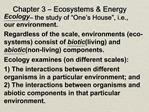 Chapter 3   Ecosystems  Energy